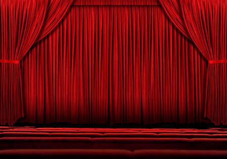 rideau de theatre: Rideau de grand th��tre rouge avec des lumi�res et des ombres