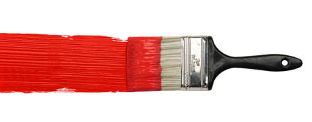 Paintbrush with red paint isolated over white background Stock Photo - 8273765