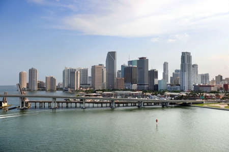 skyline at sunrise: South Miami Beach buildings and water front early in the morning Stock Photo