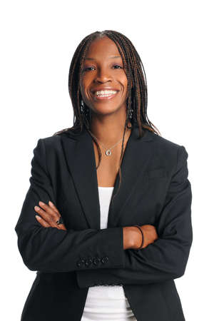 working woman: Portrait of African American businesswoman smiling isolated over white background