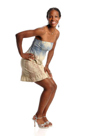 Portrait of young African American woman posing isolated over white background Stock Photo - 8273768