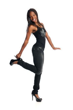 american sexy: Portrait of African American woman holding heel isolated over white background Stock Photo