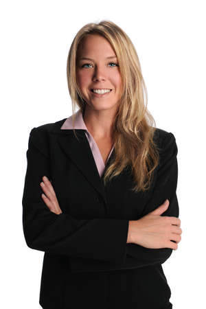 crossed arms: Portrait of beautiful businesswoman smiling with arms crossed Stock Photo