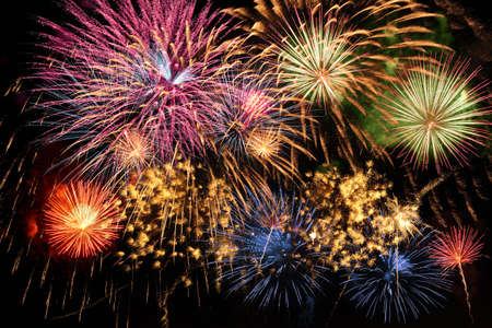 night fireworks: Colorful fireworks of various colors over night sky