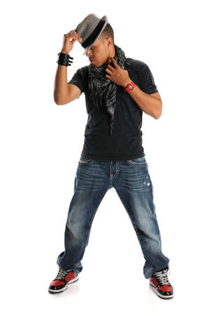 black rapper: African American hip hop dancer standing isolated over white background Stock Photo