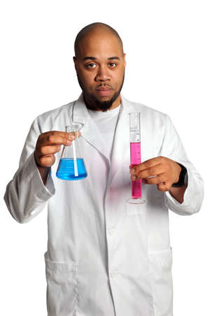 African American man holding laboratory glassware isolated over white background photo