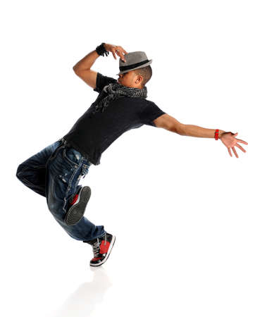 hip hop dancing: African American hip hop dancer isolated over white background