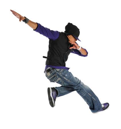 bailarin hombre: Bailar�n de estadounidense de hip hop saltando aislados sobre fondo blanco