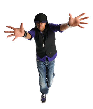 hand on hip: African American hip hop dancer performing isolated over white background