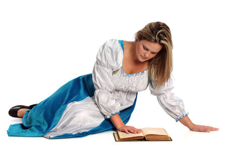 Portrait of Renaissance woman reading book isolated over white background photo