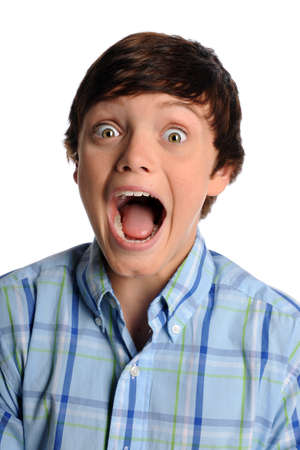 fear: Portrait of boy screaming isolated over white background