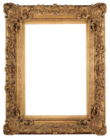 baroque border: Golden vintage frame isolated over white background Stock Photo