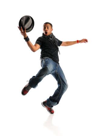 Afro-Amerikaanse hip hop dansen man met hoed geà ¯ soleerd op witte achtergrond Stockfoto