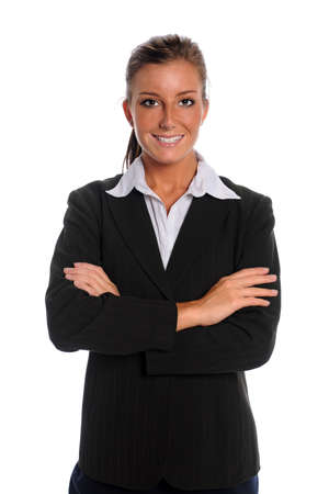 Portrait of young businesswoman with arms crossed isolated over white background Stock Photo - 10763934