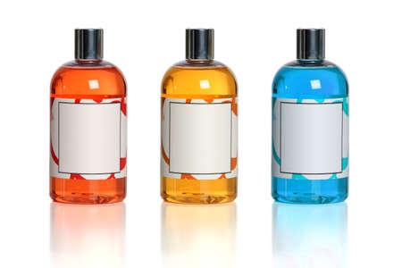 productos de belleza: Productos de Belleza de diferente color sobre fondo blanco Foto de archivo