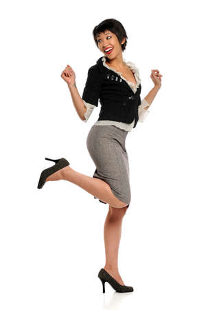 Asian American businesswoman expressing joy isolated over white background
