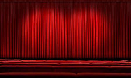 asiento: Gran cortina roja con proyectores de teatro