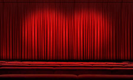 theater seat: Large Red theater curtain with spotlights Stock Photo