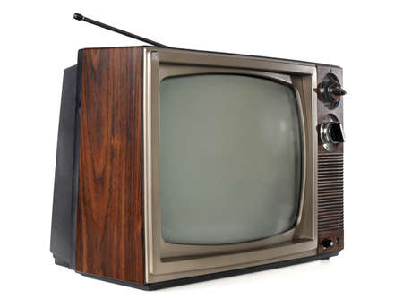 Vintage television isolated over white background Foto de archivo