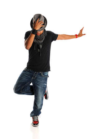 dancing pose: African American hip hop dancer isolated over white background