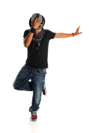 Afro-Amerikaanse hip hop danser geà ¯ soleerd op witte achtergrond