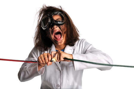 Young girl in laboratory gear being shocked by electricity isolated over white background