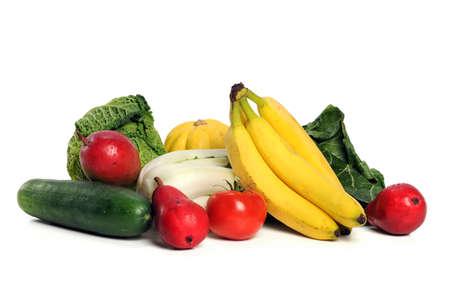 Las frutas y verduras aislado sobre fondo blanco Foto de archivo - 10870851