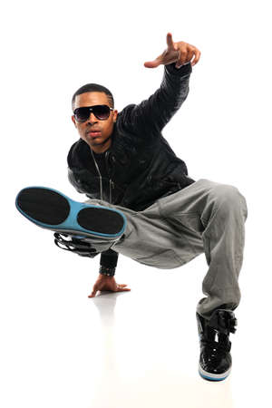 hip hop dance: African American hip hop man performing isolated over white background Stock Photo