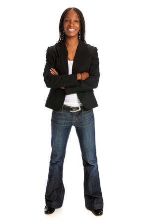 Portrait of young African American woman standing with arms crossed isolated over white background Stock Photo - 15075053