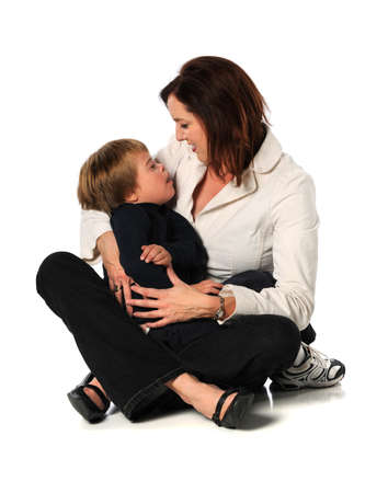 mentally: Mother and son with Down Syndrome isolated over white background