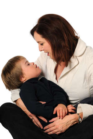 mentally: Close up of mother and son with Down syndrome isolated over white background