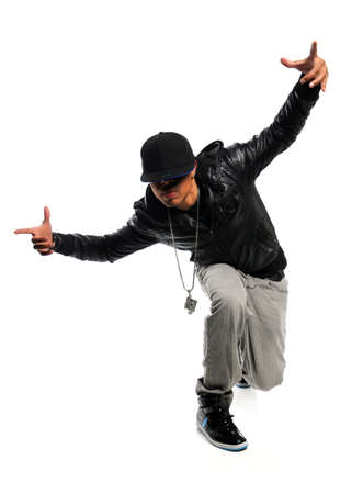 hip hop dance: African American hip hop dancer performing isolated over white background