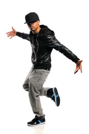 american music: African American hip hop dancer isolated over white background