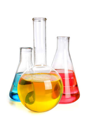 Laboratory glassware with fluids of different colors over white background Stock Photo - 15122792