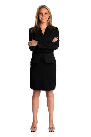 Beautiful businesswoman standing with arms crossed isolated over white background Stock Photo - 15122540