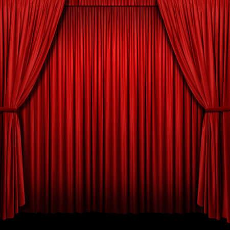 Red curtains with lights and shadows in square format photo