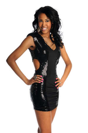 happy black woman: Portrait of beutiful African American woman in black dress isolated over white background