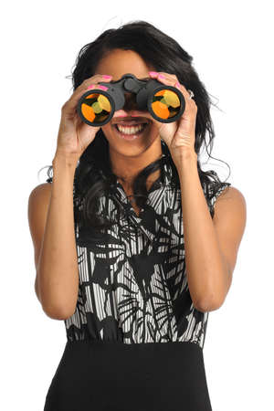 African American businesswoman using binoculars isolated over white background photo
