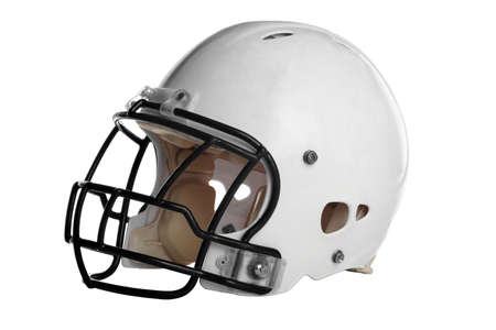 face guard: Football helmet isolated over white background