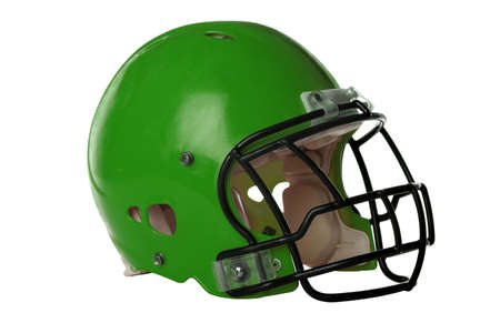 Green football helmet isolated over white background Stock Photo - 15122824