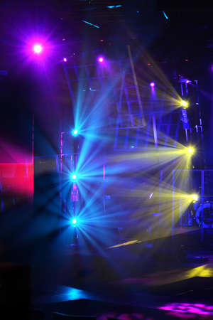 various stage lights of different colors photo
