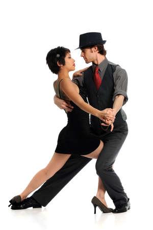 danza moderna: Pareja bailando tango aislado sobre fondo blanco Foto de archivo