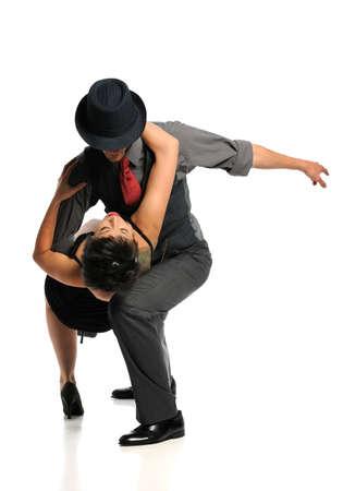 danza contemporanea: Pareja bailando sobre fondo blanco aislado Foto de archivo
