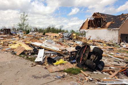 wind down: SAINT LOUIS, MISSOURI - APRIL 26: Destroyed homes after tornados hit the Saint Louis area on Friday April 22, 2011 Editorial