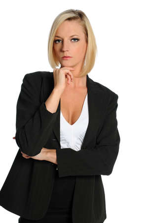 Portrait of businesswoman isolated over white background photo