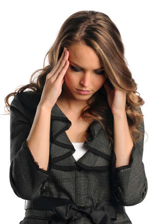 Portrait of stressed businesswoman isolated over white background
