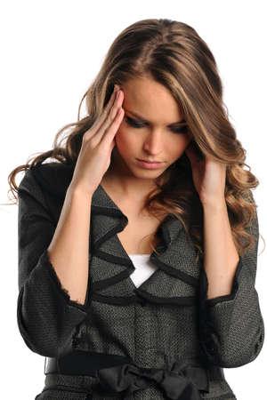 Portrait de femme d'affaires stressés isolé sur fond blanc Banque d'images - 15261526