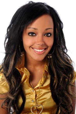 jovenes: Retrato de joven empresaria afroamericana sonriente aislados sobre fondo blanco Foto de archivo