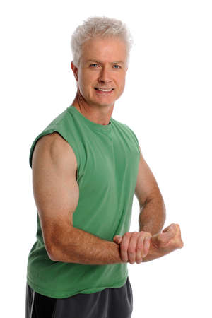 Portrait of mature man flexing biceps isolated over white background photo