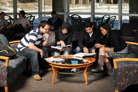 Group of students of diverce ethnic background studying together photo